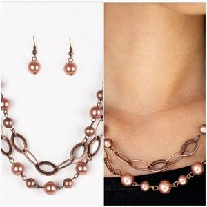 GLIMMER TAKES ALL COPPER NECKLACE/EARRING SET